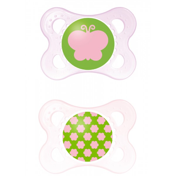 MAM Clear 0-6 Months Pacifier - Green/Pink Butterfly