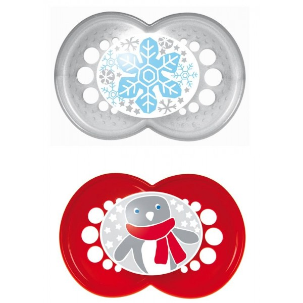 Winter Pacifiers, 6 + Months - Silver & Red