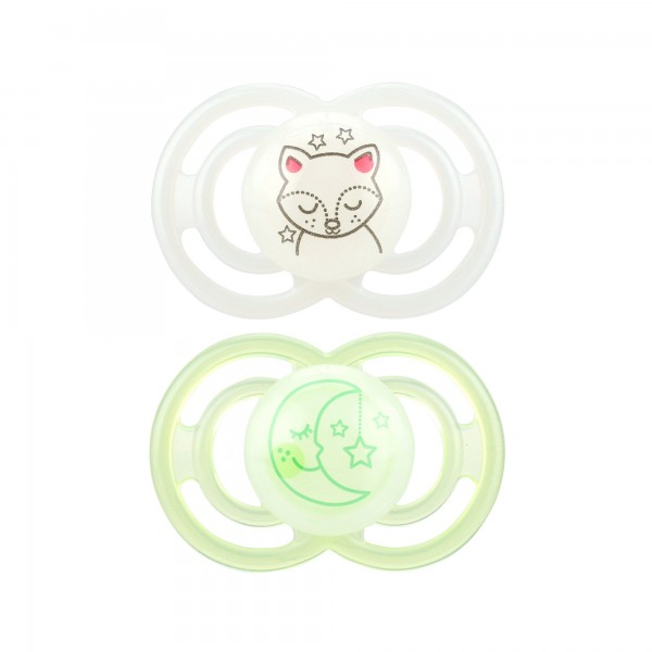 MAM Perfect Night Pacifiers, 6+ Months, light green & clear - 2 count