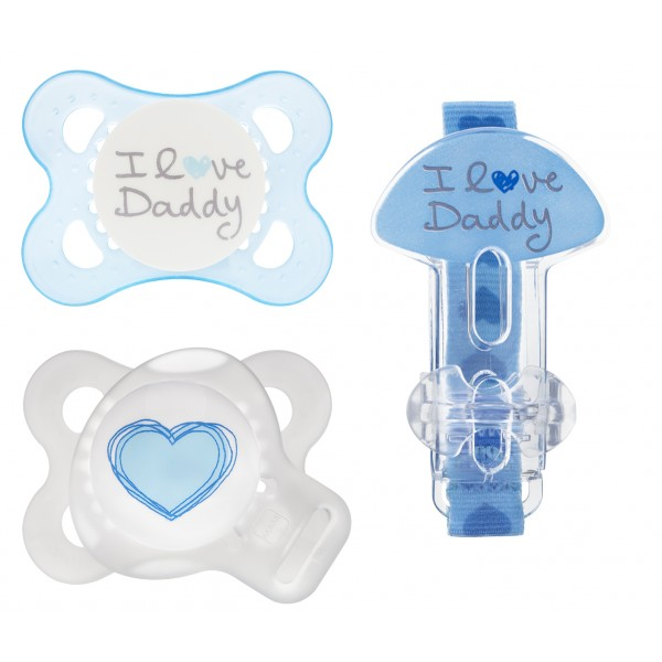 MAM Love & Affection Pacifier- 0-6 Months Value Pack - I Love Daddy - Blue