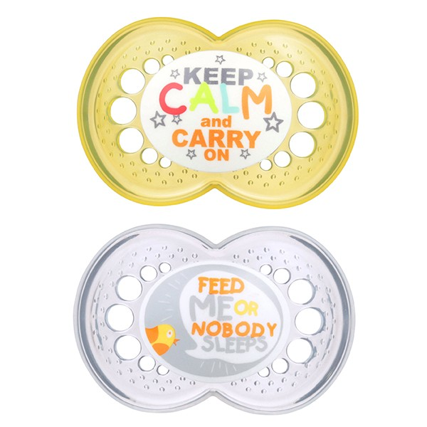 MAM Attitude Pacifiers - 6+ Months - Yellow and Gray