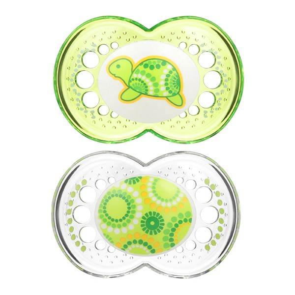 MAM Clear Pacifiers - 6+ Months - Green