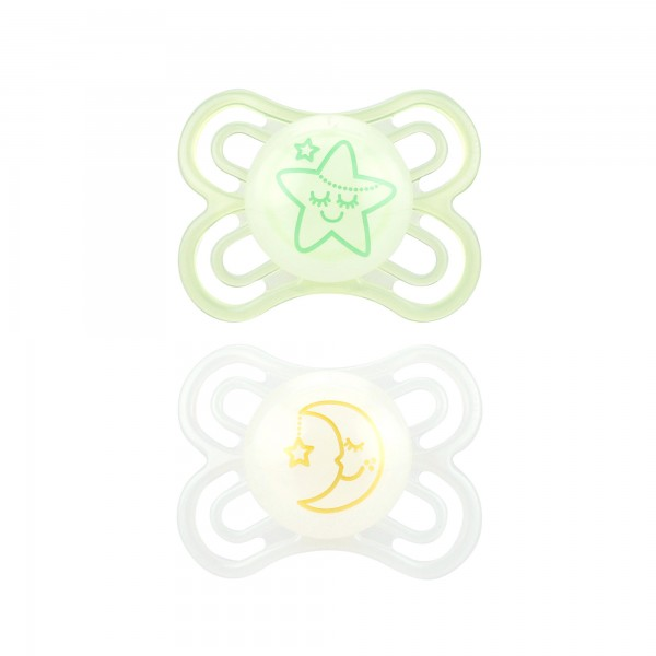 MAM Perfect Night Pacifiers, 0-6 Months, light green & clear