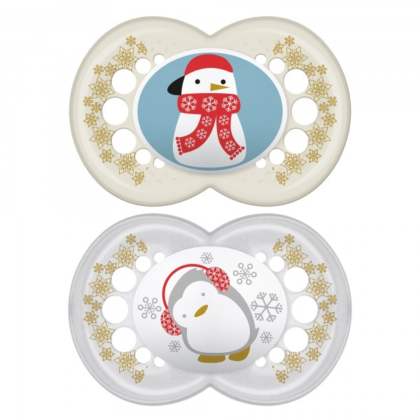 MAM Winter Pacifiers, 6+ Months - Penguin & Snowman