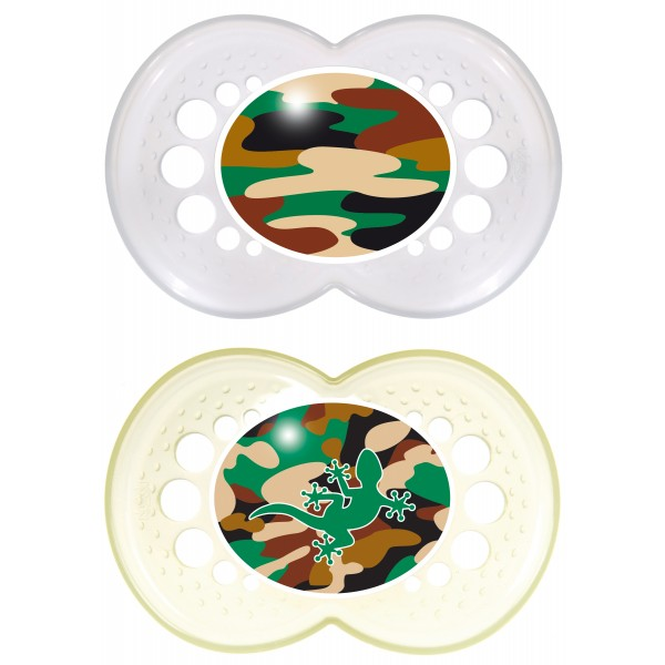 MAM Camo Pacifiers, 16+ Months - Clear