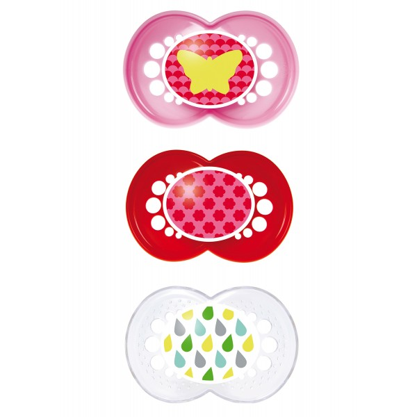 MAM Trends Pacifiers 3-Pack -  6+ Months - Butterfly/Flowers/Raindrops