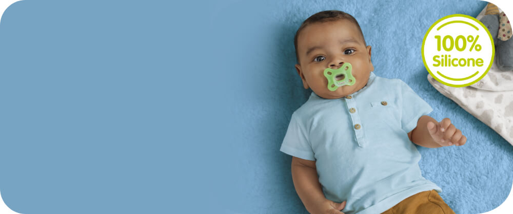 MAM Comfort Pacifiers banner with baby, 100% Silicone